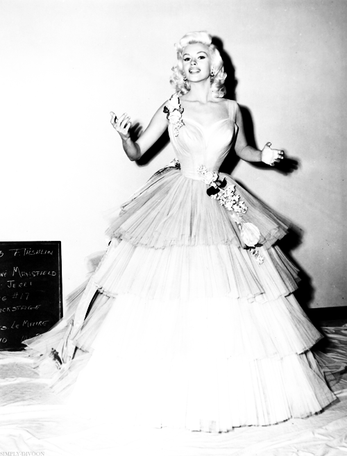 simply-divoon:  Jayne Mansfield's wardrobe test for her role as Jerri Jordan in The Girl Can't Help It (1956)