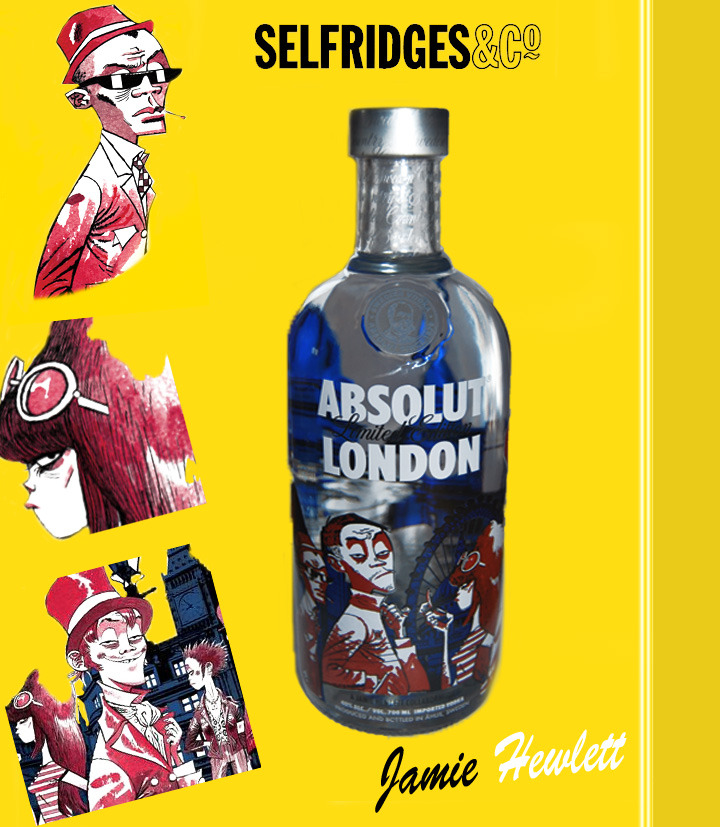 This beautiful bottle finally arrived at my door yesterday. Absolut Vodka has released a limited-edition, London-themed bottle, featuring a fantastic unique design by the talented Jamie Hewlett. The design is a take on London's style and fashion over the past 200 years, set against the wonderful london backdrop. If you love design and illustration be sure to take a look next time your shopping at Selfridges or Harvey Nichols.