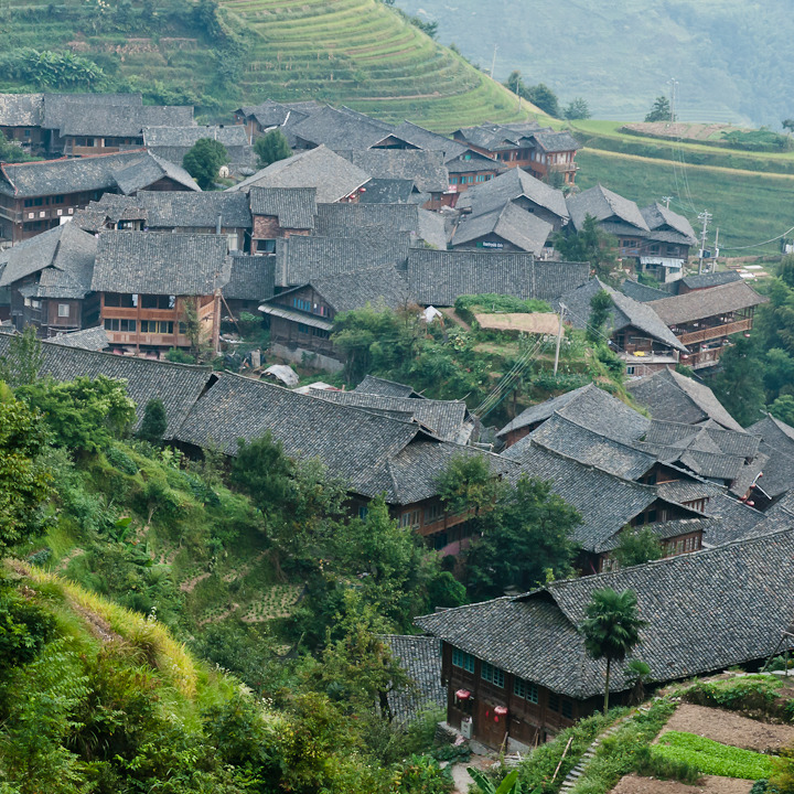 Ping'an Village, Dragon's Backbone rice terraces. Ping'an is a Zhuang village located in the midst of the rice terraces. There are Yao ethnic minority villages in the area as well.