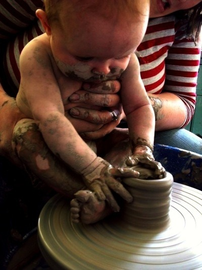 I WANT MY CHILD TO BE A MASTER AT THE POTTERY WHEEL AT AGE BABY. wtf. i love this. <3