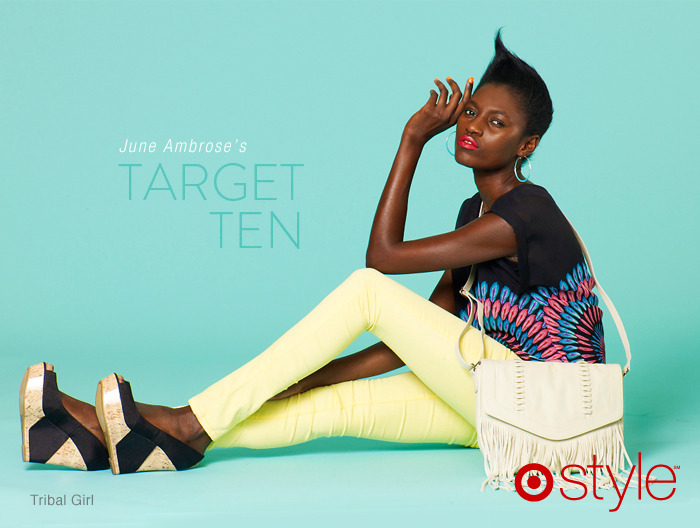 "June Ambrose's Target 10: Tribal Chic ""Here's another way to color block, not just mixing solids, but bold prints with bold color."" own it: fringe bag. tribal top. banana pants. cork wedges."