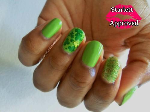 Super simple St. Patricks' Day Manicure.  Was organizing my Bundle Monster Plates and saw one had a four leaf clover, had to use it! Polishes Used:Sephora by OPI It's Totally KarmaSinful Colors Call You Later (glitter) & Last Chance