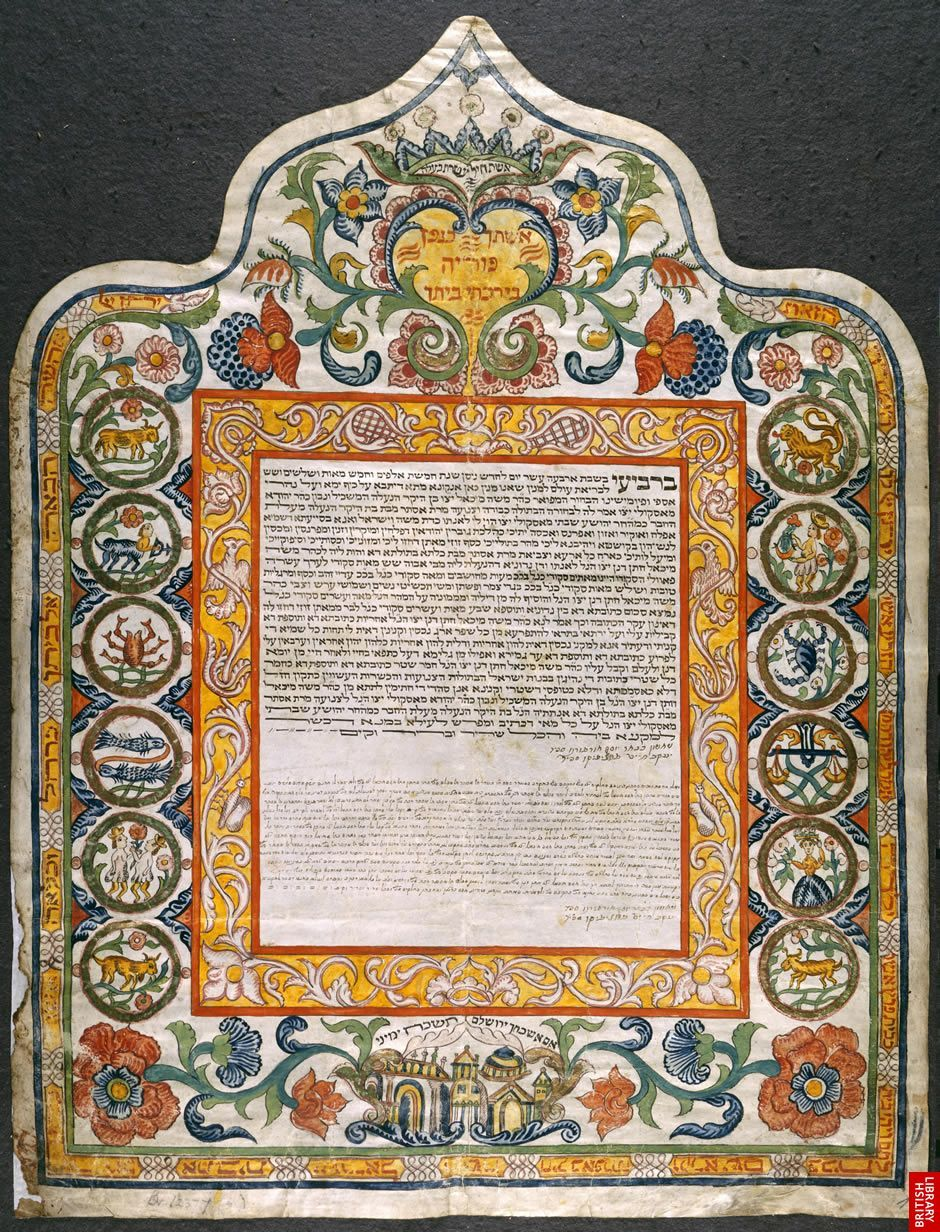 Italian ketubah The tradition of the ketubah (a Jewish marriage contract) dates back 2000 years, making it one of the earliest documents granting women legal and financial rights. This example records the matrimony of a Jewish couple in 18th-century Ancona, which was known for its splendid ketubot.
