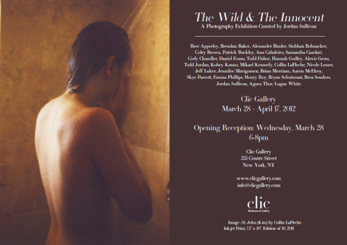 clicgallery:  The Wild & The Innocent A Photography Show Curated by Jordan Sullivan Photographers//Bree Apperley, Brendan Baker, Alexander Binder, Siobhan Bohnacker, Coley Brown, Patrick Buckley, Ana Cabaleiro, Samantha Casolari, Cody Chandler, Daniel Evans, Todd Fisher, Hannah Godley, Alexis Gross, Todd Jordan, Kohey Kanno, Mikael Kennedy, Collin LaFleche, Nicole Lesser, Jeff Luker, Jennilee Marigomen, Brian Merriam, Aaron McElroy, Skye Parrott, Emma Phillips, Henry Roy, Bryan Schutmaat, Brea Souders, Jordan Sullivan, Agnes Thor, Logan White  definitely want to check out this show before it's over