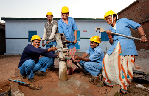 One well mechanic in rural India maintains approximately 50 wells, ensuring clean water for over 5000 people.  Learn more at www.theadventureproject.org.