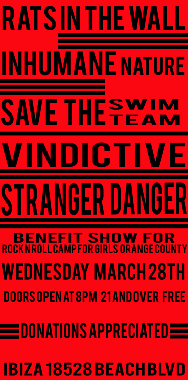 benefit show for rock camp March 28th Free