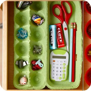 No More Messy Drawers: Make an Egg Carton Organizer!