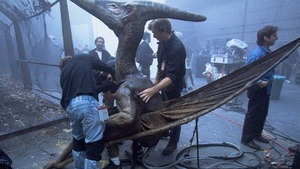 oneheadtoanother:  An Absurdly Cool Behind-The-Scenes Look At The Jurassic Park Dinosaur PuppetsThe late great Stan Winston was one of the undisputed masters of cinematic effects. With his team of make-up artists and puppeteers, Winston gave such films as Aliens and Predator an otherworldly sheen that's been seared into the collective memory of moviegoers for decades.  And on the Stan Winston School's YouTube account, there are tons of behind-the-scenes reels of the dinosaurs from the Jurassic Park films. Behold amazing footage of the velociraptors and Tyrannosaurus hanging out casually with their human puppet masters.