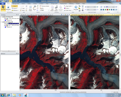 two maps of North and South Sawyer Glacier, southeast Alaska.  The first picture is from 1993 and the second is from 1984.  It's amazing the regression of these glaciers in only about 10 years.  Welcome to my Remote Sensing Final Project. :D
