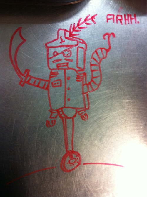 Robot pirate! Work is boring.