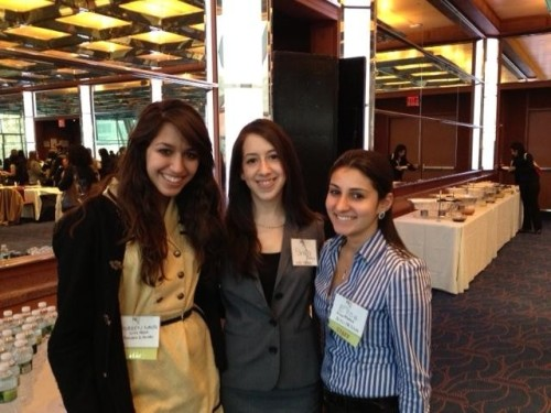 Doreen Naor (Chapter President) Shira Palka (VP of Communications) & Elisa Freese (VP of Chapter Development) (Left to Right) at the PRSANY-NYUPRSSA Career Forum!
