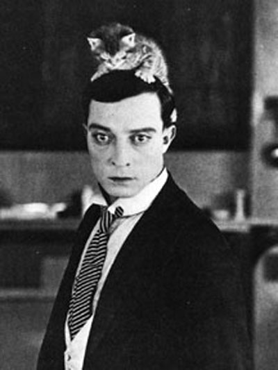 Buster Keaton's hat is definitely a cat.