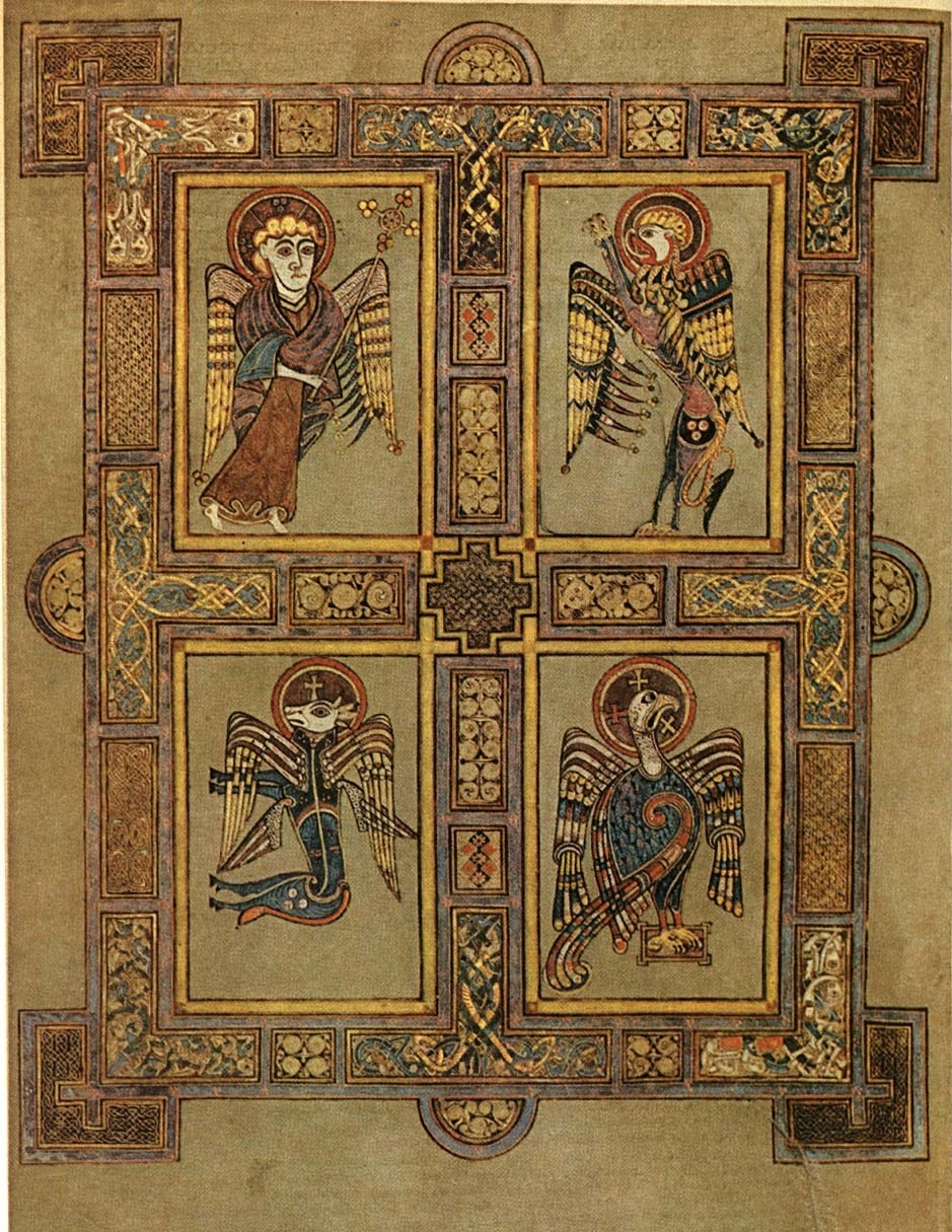 Folio with the symbols of the Four Evangelists from the Book of Kells, c. 810. Image taken from ARTstor. Click here to be linked to a site which describes the symbolism behind the animal imagery associated with the Evangelists.