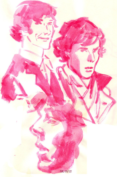 Sherlock sketches done with red ink.