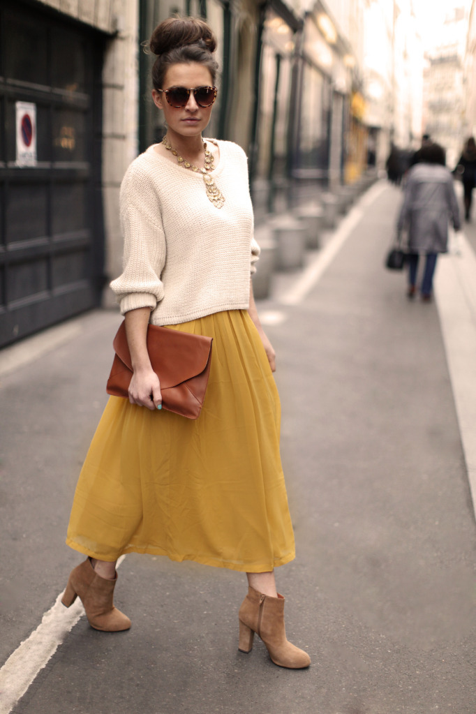 what-do-i-wear:  Urban Outfitters Sweater, Forever 21 Yellow Maxi, Vintage Necklace, Ebay Clutch, ASOS Sunglasses, Def-Shop Suede Boots.  (image: befrassy)