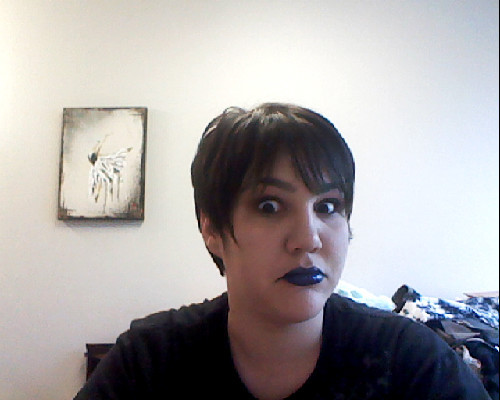 Can't see the rest of my makeup too well, BECAUSE HOLY SHIT, MY LIPS ARE BLUE.