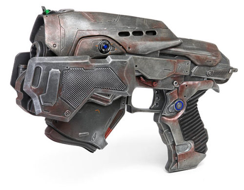 """Gears of War 3: C.O.G Snub Pistol Precision Prop Replica Product Specifications  Gears of War 3 - C.O.G. Snub Full Scale Replica Are you tough enough to handle one? Officially licensed Gears of War 3 replica weapon Made of hand-painted, hand-finished, hand-cast polystone Feels like cold, hard steel in your hand Dimensions: 13"""" long Weight: 10 lbs  All yours for a cool USD$399.99"""
