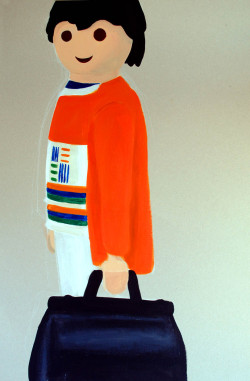 A playmobil figure, acrylic on cardboard