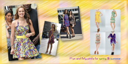 Fun and flirty prints for spring &summer. Put away your netural colors and add a pop of color and flirty prints in your wardrobe. Miranda kerr wearing a mutli colored flowy mini. Socialite Olivia Palermo as well in a colorful fitted waist tiered dress . Leighton meester in a vibrant belted halter dress.  Aryn k's spring and summer captured the bold and fun colors of yellow, purple green and added some prints to jazz up your S&S STYLE!
