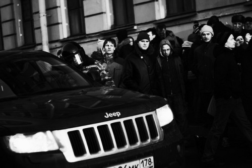 "Russia, Saint Petersburg. Protest/riot actions with slogans ""Russia without Putin"", ""Russia will be free"", etc."