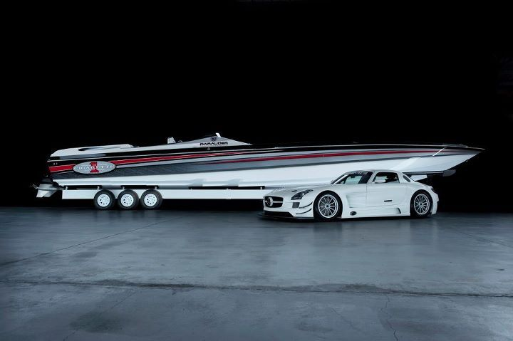 The Cigarette 50' Marauder SS with the Mercedes-Benz SLS AMG GT-3 Race Car.