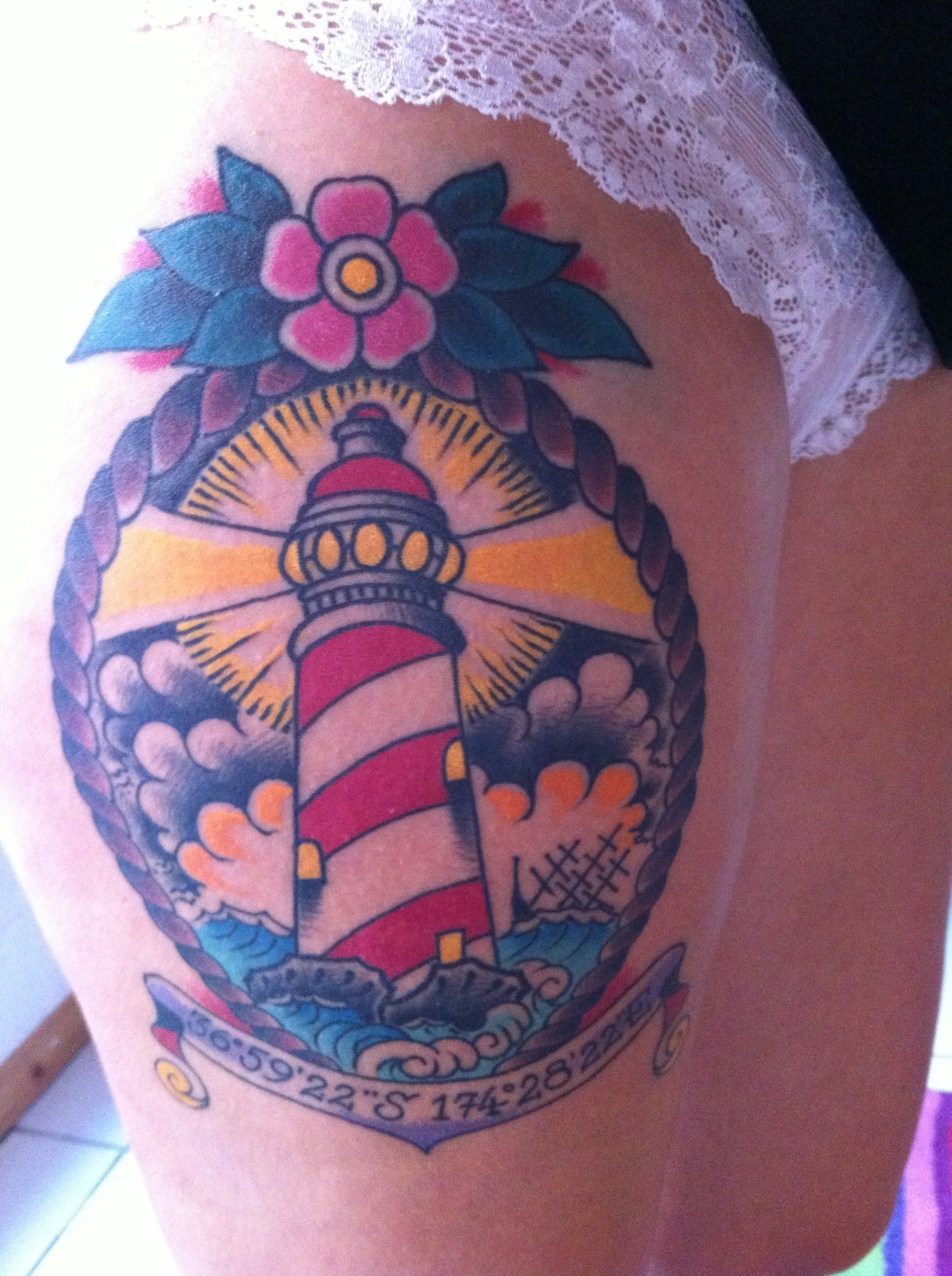 "fuckyeahtattoos:  Hello, this is my third tattoo, done by Naomi at The Tattooed Heart in Auckland, New Zealand. I got it done at the end of my trip trough New Zealand because this 5 months journey made me find myself while discovering amazing places. A lighthouse means to me finding peace through the storm. Above it you can read 36°59'22"" 174°28'22"" which is the location of the most peaceful place I've ever seen in the whole world. I got this tattoo because I felt, at this location, that I was getting over my depression and my sadness, and it makes me think about how happy I can be if I decided to. http://alenseignedelafillesanscoeur.tumblr.com"