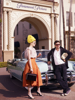 (via lovelyritablog.com) Editorial: Hollywoodland Magazine: Vogue USA, March 2008 Photographer: Mario Testino Fashion Editor: Grace Coddington Models: Karen Elson and Casey Affleck