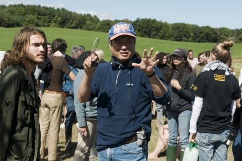 Ang Lee with Emile Hirsch on set of Taking Woodstock (2009).