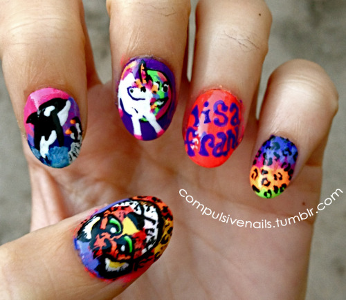 Did some Lisa Frank nails, flash back to the 90's!!