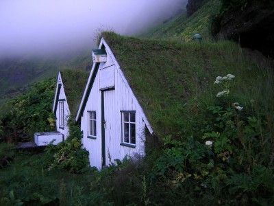 Sod roof houses in Vik, Iceland. Photo by Gilles Baldet.
