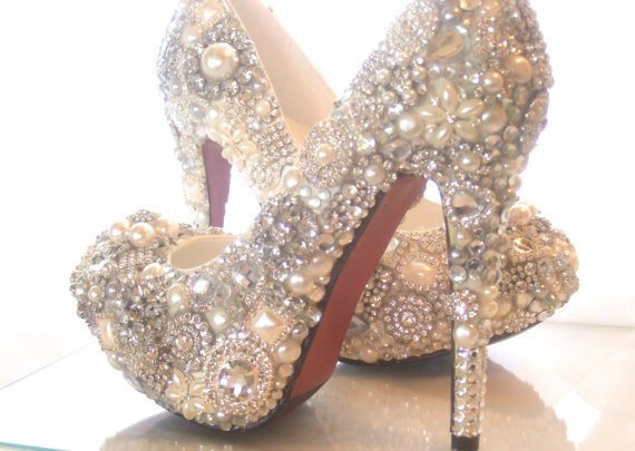 Cinderellas Wish… crystal, glass and pearl covered high heels. Wedding bespoke custom design by everlastinglifashion on Etsy.