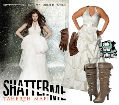 Shatter Me by Tahereh Mafi Although the dress, which is quite a nice match, is from David's Bridal, I wanted to un-glam it up with some leather gloves and boots. The Dooney and Bourke gloves, because Juliette isn't able to touch people without inflicting harm and the Anne Michelle boots because the buckles seemed significant to her circumstances.