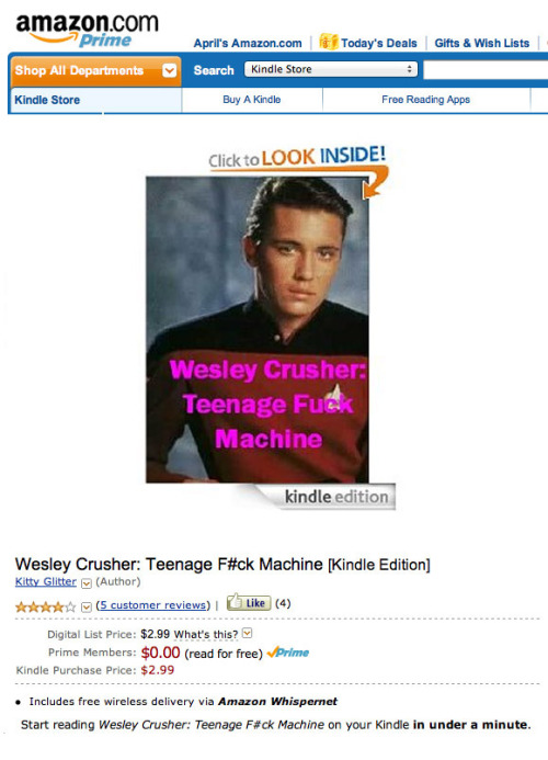 "mrdingo:  Wow: ""Wesley Crusher: Teenage Fuck Machine"". (thanks Regretsy!)"