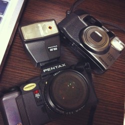 got some film cameras. Will test them out today. Pentax A3 and Espio 115 (Taken with instagram)