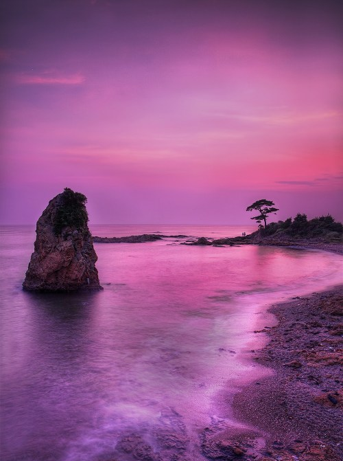 pyrrhic-victoria:  The Lonely Rock in the Purple Sunset by hapachris on Flickr.