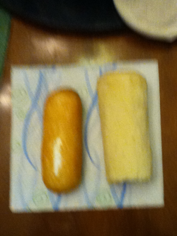 The Twinkie on the left is processed and better than the one on the right which is home made