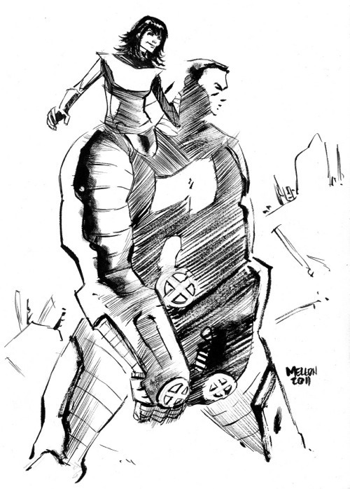 Kitty Pryde and Colossus by Kevin Mellon