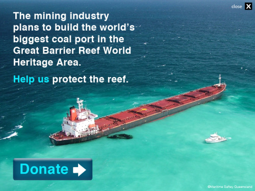 erland:  The mining industry plans to build the world's biggest coal port in the Great Barrier Reef World Heritage Area. Help us protect the reef. Donate now.