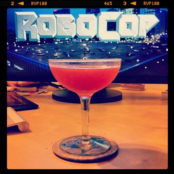Watching RoboCop and drinking a Charlie Chaplin (1oz Apricot Brandy, 1oz Sloe Gin, 1oz Lime) (Taken with instagram)