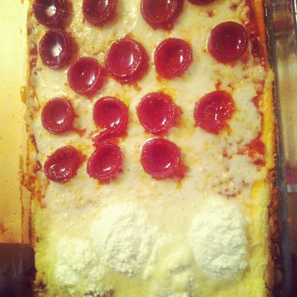 No Carb Pizza! White and Pepperoni (Taken with instagram)