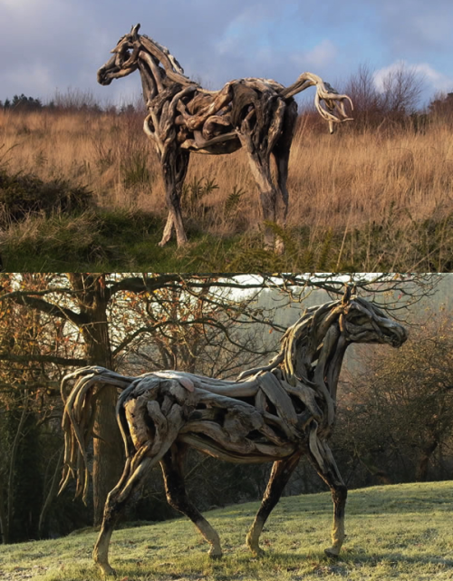 This is amazing. Natural wood sculptures.  szymon:  Driftwood sculptures by Heather Jansch.
