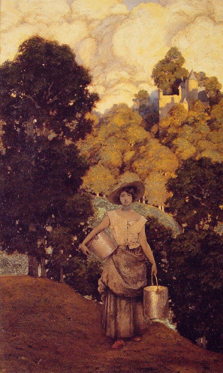 cavetocanvas:  Maxfield Parrish, Milkmaid, 1901
