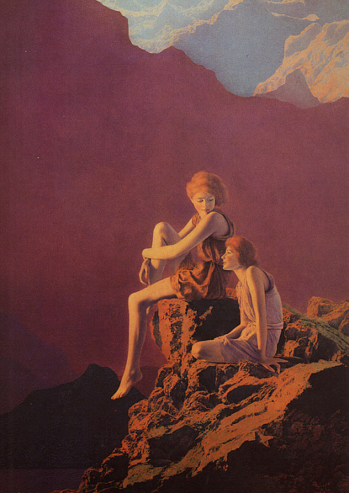 cavetocanvas:  Maxfield Parrish, Contentment, 1927  I had this on my wall for a long time when I was in college.