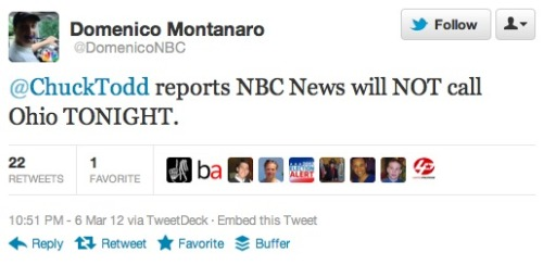 NBC won't call Ohio tonight: No word on other networks yet, but not exactly a surprise given how close the race is right now.