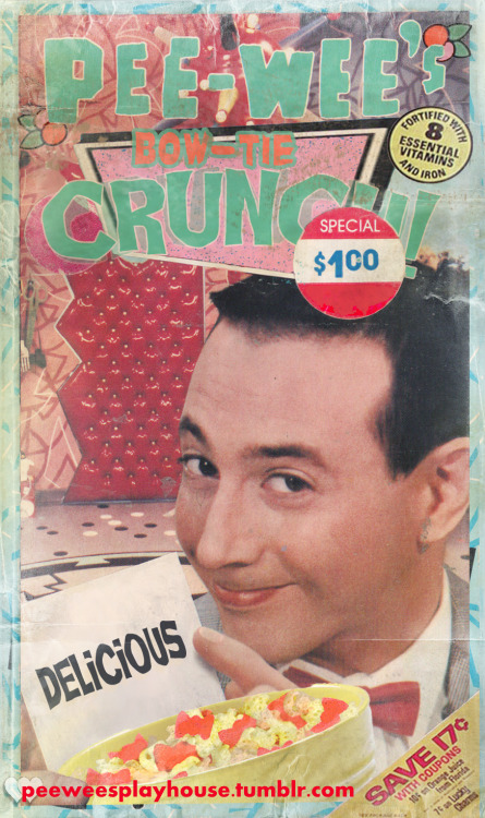 Pee-wee Herman Bow-Tie Crunch Cereal!A mock up box graphic created by Michael Aiello. (Submission by Michael Aiello)