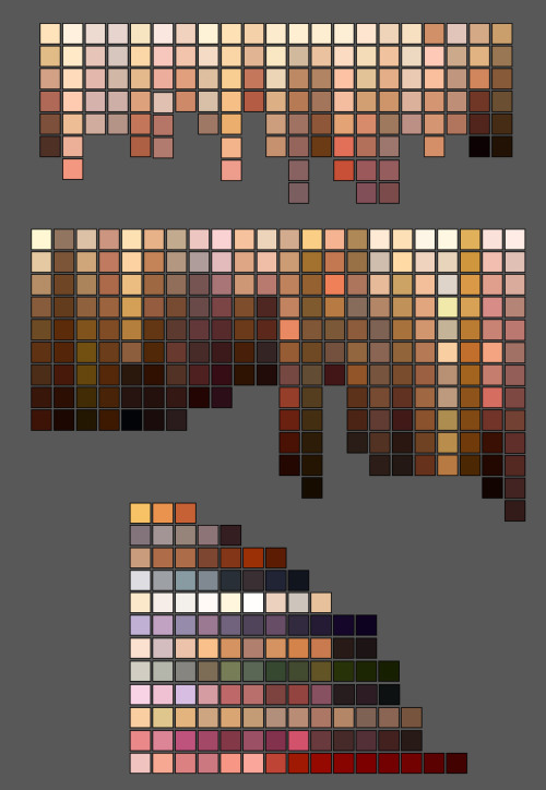 artist-problems:  boondoggleprospect:   skintone palettes  Oh hell yes  Thought you guys would find this useful (especially since we have a problem for skin tones). yachumi  amg this I just can't—