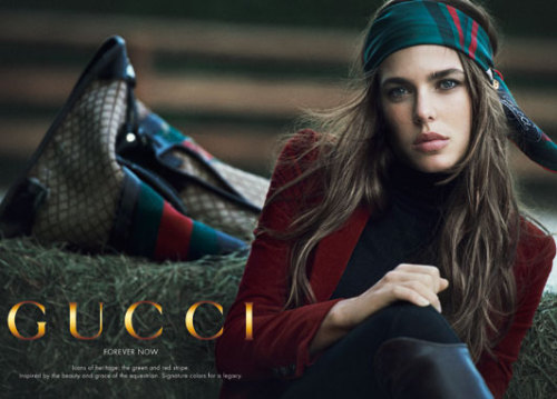 just released today, the Gucci 'Forever Now' campaign features none other than granddaughter of Grace Kelly and Monaco royalty, Charlotte Casiraghi.  shot by Peter Lindbergh, the photoshoot's theme takes into account Gucci's equestrian-inspired legacy and Casiraghi's love of horses - the royal is a trained show jumper. the 'Forever Now' campaigns will celebrate Gucci's icons, this first campaign celebrating Gucci's famed green and red stripe. these stripes originally came from a saddle strap that Gucci's founder, Guccio Gucci, came across and used for his first luggage creations, now instantly recognizable and synonymous with the brand. over the next two years Casiraghi will sit with 3 other famed photographers for Gucci. having had a long relationship already (Gucci's creative director, Frida Giannini, has been exclusively designing Casiraghi's riding gear for years) solidifying their relationship and featuring Casiraghi as a face of Gucci was the next logical step. after an amazing Paris Vogue issue last september, im excited to see what the other Gucci shoots bring! source: TelegraphUK