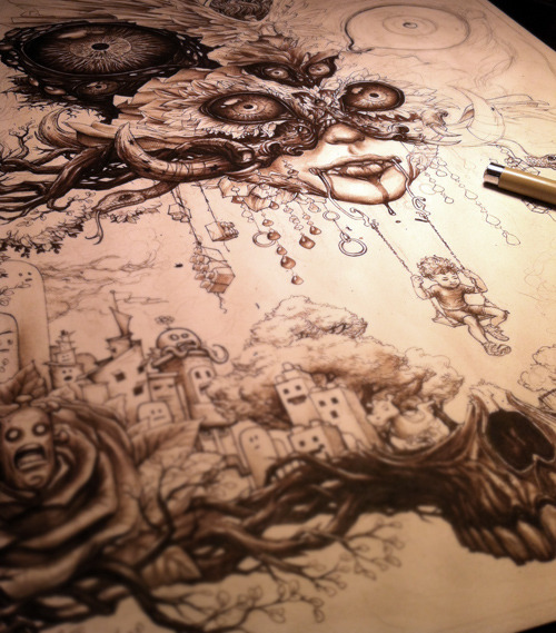 Moar…. ink on paper, in progress.