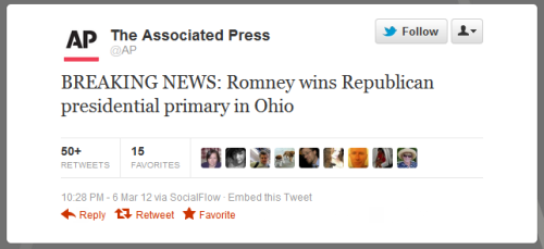 ryking:  @AP: BREAKING NEWS: Romney wins Republican presidential primary in Ohio Romney spent $11 million to Santorum's $1 million and still couldn't muster a solid win against Santorum, eking out a 1% victory in Ohio.