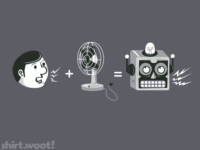 """theory of the robot voice"" Print at http://shirt.woot.com/"
